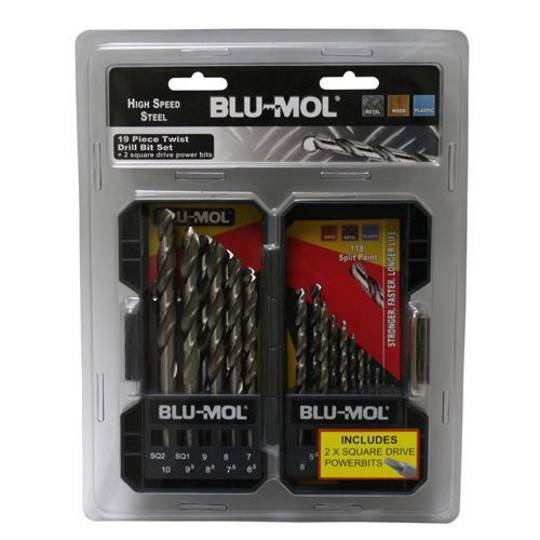 DRILL SET 1-10mm 19pc BLU-MOL