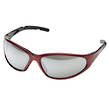 SAFETY GLASSES RED FRAME MIRROR LENS ELV